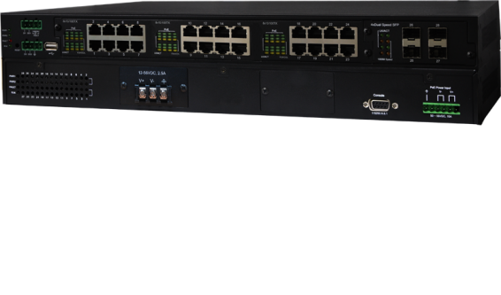 24 10/100TX PoE at + 4 Dual Speed SFP L2+ Industrial Managed Switch
