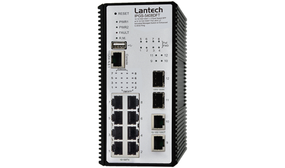 10 10/100/1000T + 2 Dual Speed SFP w/ 8 10/100/1000T PoE af/at L2+ Industrial Managed Switch w/ Enhanced G.8032 Ring, PTP & Built-in MMS Server for Data Modeling