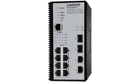 10 10/100/1000T + 2 Dual Speed SFP L2+ Industrial Managed Switch w/ Enhanced G.8032 Ring, PTP & Built-in MMS Server for Data Modeling